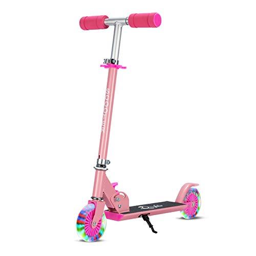 LITIAN Zweirädrigen Kinder Scooter kann angehoben und abgesenkt Werden Folding Kinder Fahrrad (mit Licht Rad) Pink