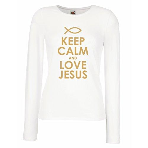 Weibliche Langen Ärmeln T-Shirt Liebe Jesus Christus, christliche Religion - Ostern, Auferstehung, Geburt Christi, religiöse Geschenkideen (Small Weiß Gold)