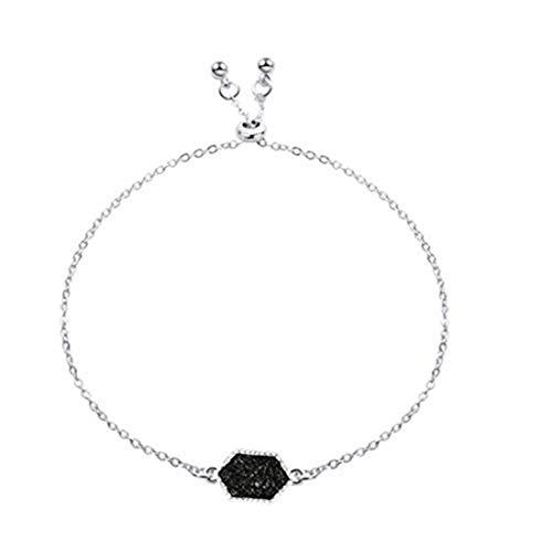 yichahu Pulsera de piedras hexagonales para mujer (plata + negro)