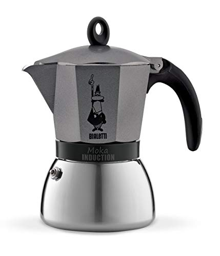 Bialetti 4823 Moka Induction Espressokocher, Aluminium, 6 Cups, Grau