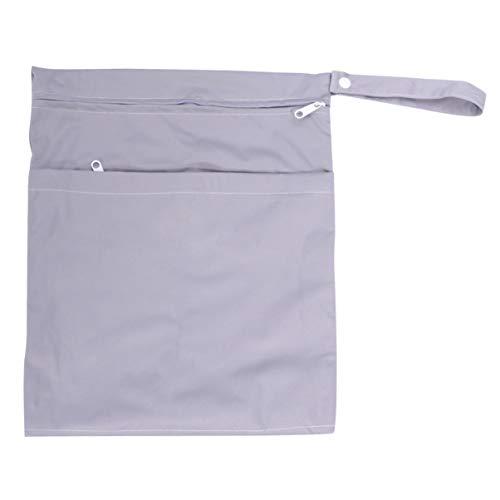 EXCEART Bolsa de Pañales para Bebé-Pañalera de Tela Impermeable Bolsas Húmedas Secas Bolsas de Almacenamiento Reutilizables para Pañales 1 Unidad (Gris)