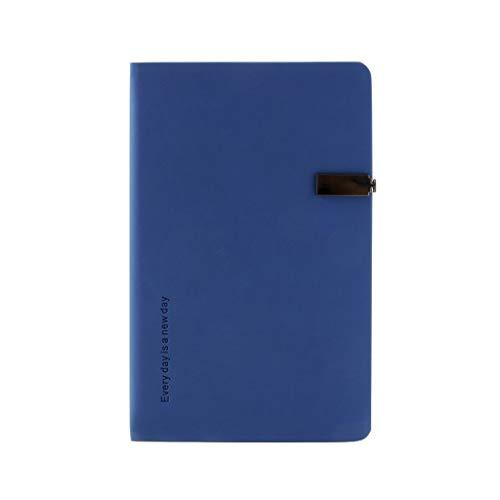 Cuadernos de redacción Notebook Material de Oficina A5 Metal Hebilla magnética Negocio Cuaderno de Trabajo Reunión Libro de Registro Papel (Color : Blue, tamaño : 13 * 22cm)