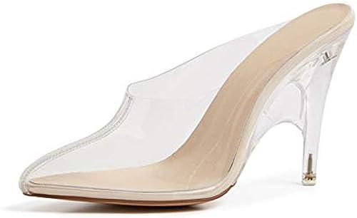 HommesGLTX Talon Aiguille Talons Hauts Sandales 2019 2019 Nouvelles Chaussures Femme Unique en PVC Chaussures D'été Transparentes Glisser sur De Hauts Talons Mules Chaussures Femmes Pompes  achats de mode en ligne