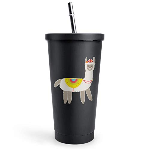 Cute Baby Fluffy Alpaca Llama Party Black Double Wall Stainless Steel Cups Of with Lids and Straws Vacuum Insulated Tumbler Best Friend Gift Travel Mug