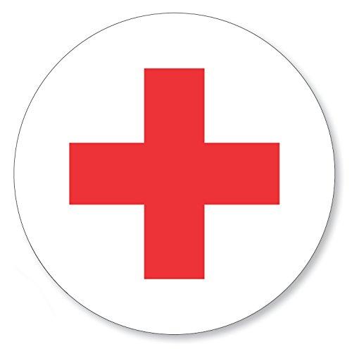 12 X Aufkleber rotes Kreuz rund Ø 30 mm, Folienaufkleber Rotkreuz rot weiß (Auf-521k)