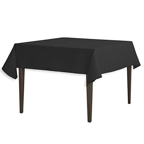 LinenTablecloth 54-Inch Square Polyester Tablecloth Black