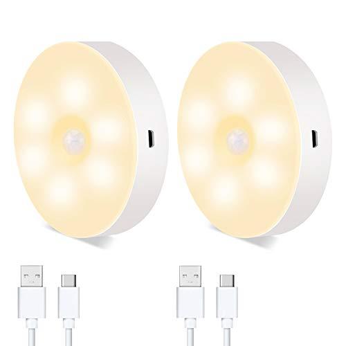 Hansiro LED Nachtlicht mit Bewegungsmelder | USB aufladbare Nachtlampe mit Magnet für Schlafzimmer, Treppenhaus, Garage, Schrank | Warmweiß | 2 Stück