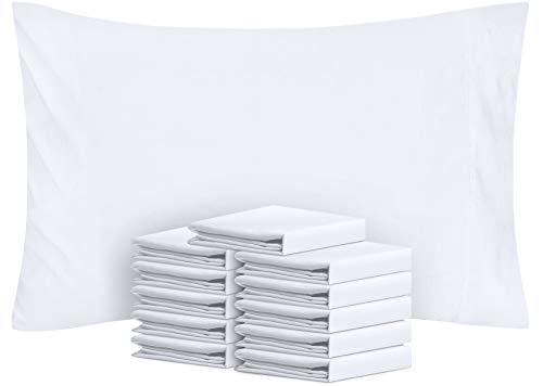 Utopia Bedding - Juego de 12 fundas de almohada (algodón), color blanco