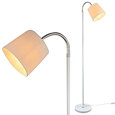 Adjustable White Floor Lamp with Chrome Accents and White Fabric Lamp Shade - Flexible Floor Lamp - Standing Lamp (White)