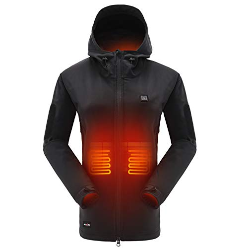 DEWBU Heated Jacket with 7.4V Battery Pack Winter Outdoor Soft Shell Electric Heating Coat for Women,Black,L