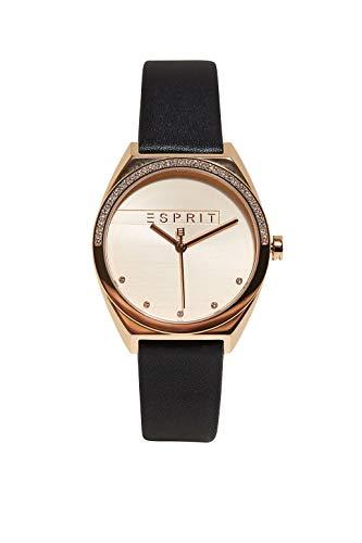 Esprit Edelstahl-Uhr mit Leder-Optik und Zirkonia