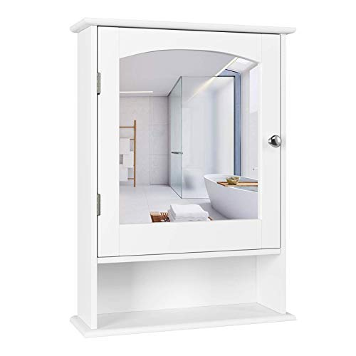Homfa Bathroom Mirror Cabinet, Wall Mounted Storage Cabinet Medicine Cabinet with Single Door and Adjustable Shelf, Accent Furniture for Home Multipurpose, White