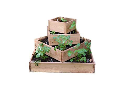 bio-garten Pyramiden-Hochbeet für Kartoffeln, Kräuter und Gemüse/aus Lärchenholz / 100 x 100 cm inkl. Wühlmausgitter