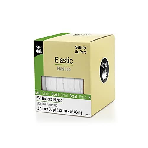 Dritz 9431W Braided Elastic, 3/8-Inch x 60-Yard, White
