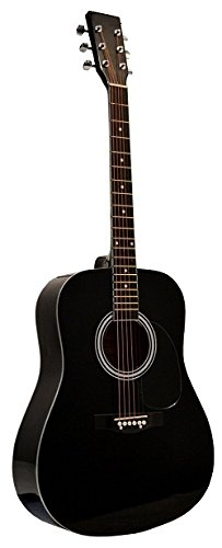 41' Inch Full Size Black Handcrafted Steel String Dreadnought Acoustic Guitar [Teacher Recommended] & DirectlyCheap(TM) Translucent Blue Medium Guitar Pick (PRO-1 Series)
