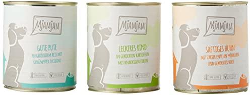 MjAMjAM - Premium Nassfutter für Hunde - Mixpaket 1 - Huhn & Ente, Rind, Pute, 6er Pack (6 x 800 g), getreidefrei mit extra viel Fleisch