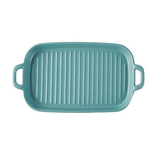 MAATCHH Baking Dishes 2 Pieces Of Matte Color Glaze Ceramic Plate Rectangular Household Western Food Plate Steak Plate for Cooking (Color : A, Size : 29x15x2.7cm)