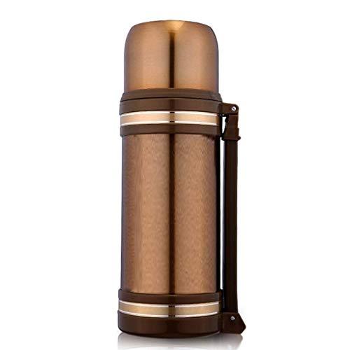 NLRHH Thermos Taza Caliente Copa de Gran Capacidad de Aislamiento Pot Hombre Caliente Botella de Agua al Aire Libre Recorrido del Acero Inoxidable del hogar del Coche 1.2L Botella (Color: Oro) Peng