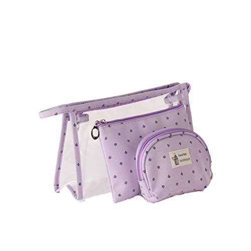 Sac de cosmétique Portable Haute Capacité Voyage Transparent Affaires Baignade Poche Trousse De Rangement De Toilette (Color : Purple)