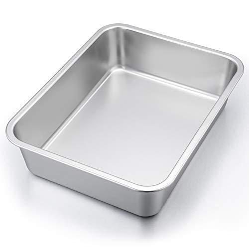 """P&P CHEF Lasagna Pan, Rectangular Cake Pan Roaster Pasta Baking Cookie Sheet Pan Stainless Steel , 12.7""""x10""""x3.2"""", Heavy Duty & Durable, Oven & Dishwasher Safe"""