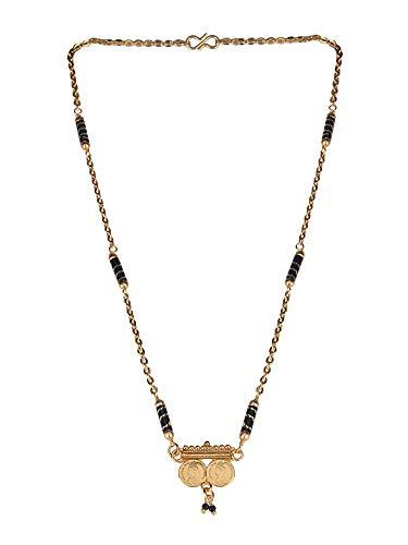 Efulgenz Mangalsutra - Collar Largo Chapado en Oro con Colgante de Moneda para Mujer