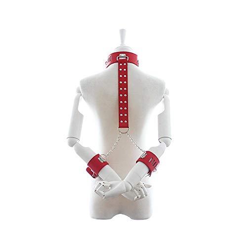 Disfraz de mujer coqueteando Sexualidad Entrenamiento Parte superior del cuerpo Bondage Cors Juguete Cuello de mano Esposas anti-espalda Juguetes sexuales femeninos Ropa ertica ( Color : Red )