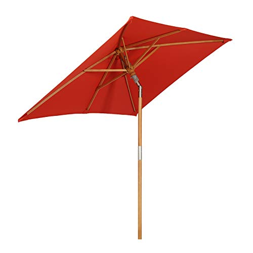 Sekey® 200 × 150 cm Holz-Sonnenschirm Marktschirm Gartenschirm Terrassenschirm Sonnenschutz UV50+ Rot Rechteckig