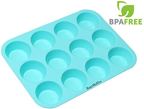 Silicone Baking Pan Cupcakes Muffins Mold 12 Cup 100% NonStick BPA FREE FDA Approved Food Grade Silicone in Aqua 1 Pan