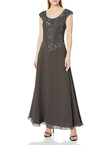 J Kara Women's Plus Size Cap Sleeve Long Beaded Dress, Gray, 16W (Apparel)