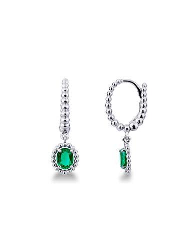 Gioielli di Valenza - Orecchini in oro bianco 18k con pendenti di smeraldi - NORE4249BS