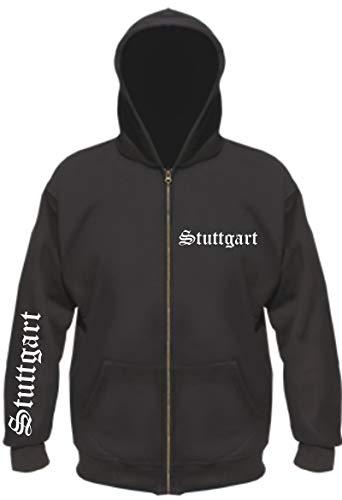 sostex Stuttgart Kapuzenjacke - altdeutsch Bedruckt - Sweatjacke Jacke Hoodie L Schwarz