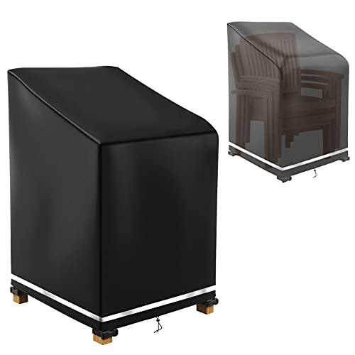 Funda protectora para sillas de jardín, apilable, resistente al agua, resistente a los desgarros, para respaldo alto, 65 x 65 x 80 x 120 cm (negro)