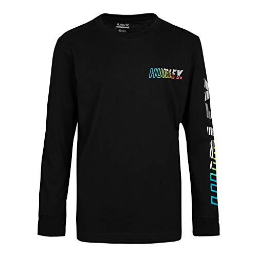 Hurley Boys' Long Sleeve Graphic T-Shirt, Black/Onshore, L
