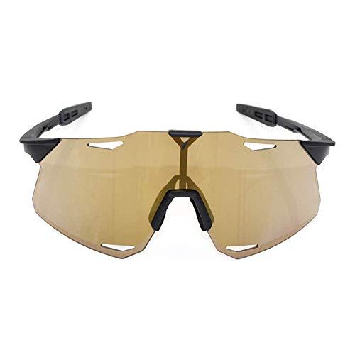 WOXING Súper Liviana Marco Carrera TR90 Gafas,para Los Hombres Mujer Gafas,Bicicletas De Carretera Vintage Antideslumbrantes Gafas De Sol,Aire Libre Deportes Ciclismo Gafas-Dorado 15x4cm(6x2inch)