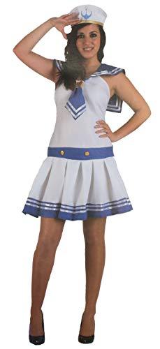 Brandsseller Damen Karneval Kostüm Matrosin mit Mütze Maritime Party Verkleidung Weiß/Blau 42/44