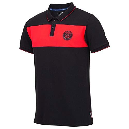 Paris Saint-Germain Herren-Poloshirt, offizielles Lizenzprodukt, Schwarz / Rot - Schwarz - Klein