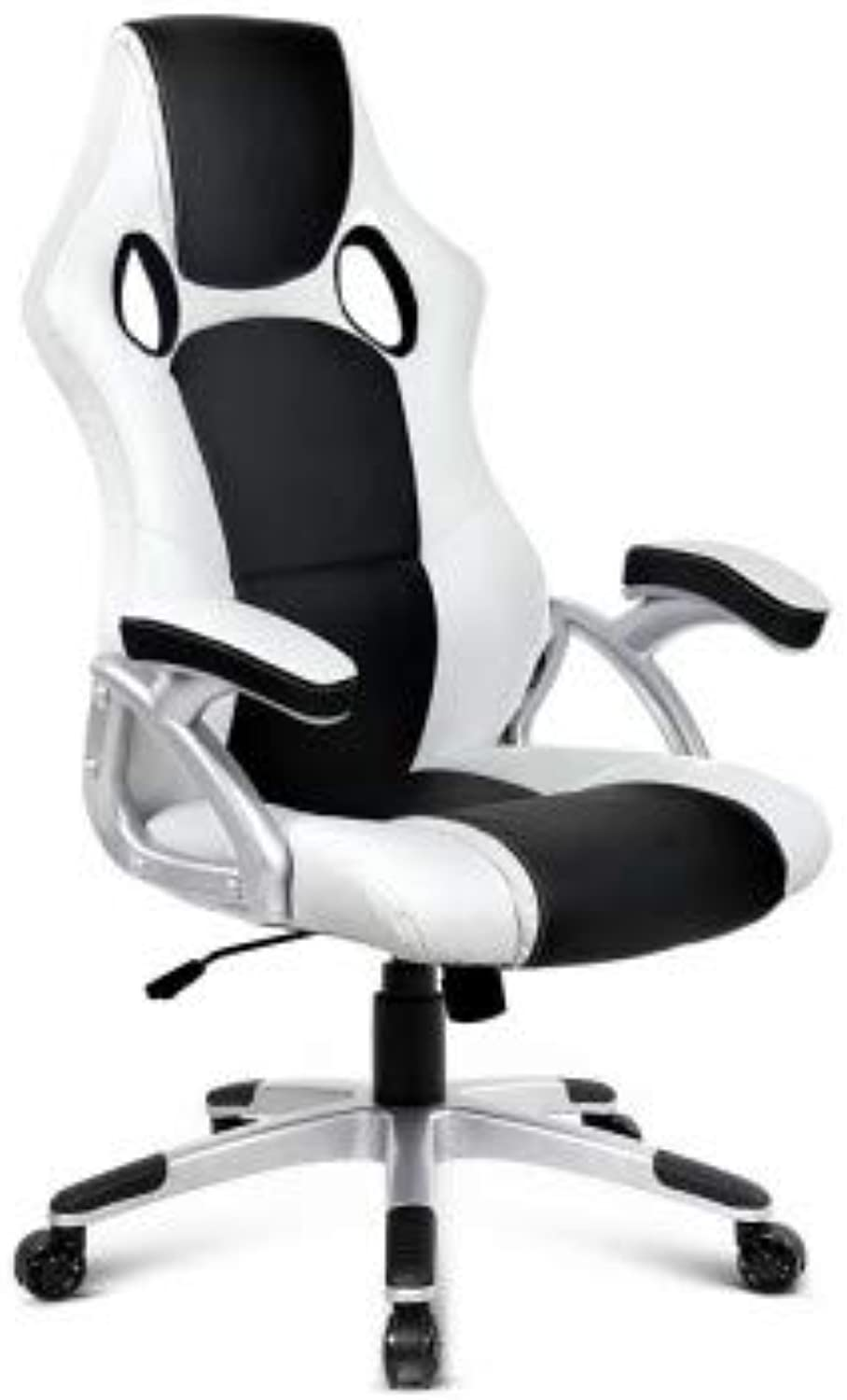Racing Style Gaming Chair, PU Leather - White & Black