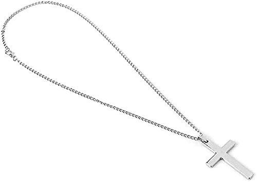 NC190 Collar de Moda de Hip Hop para Hombre, Collar con Colgante de Cruz, Collar de Cadena Religiosa, joyería - Plata 50cm