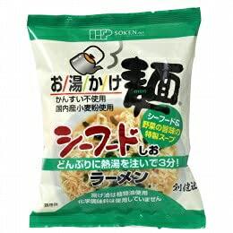 創健社 お湯かけ麺 シーフード塩ラーメン 73g (麺60g、スープ13g) x4個セット