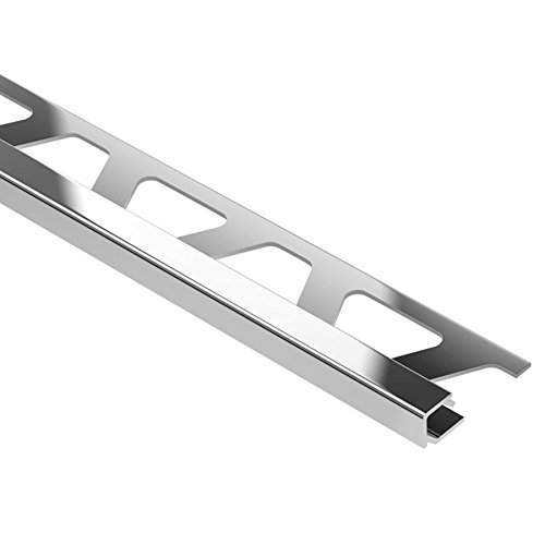 Schluter QUADEC - Edging Profile - For 1/2' Thick Tile - 8' 2-1/2' Length - Polished Chrome Anodized Aluminum