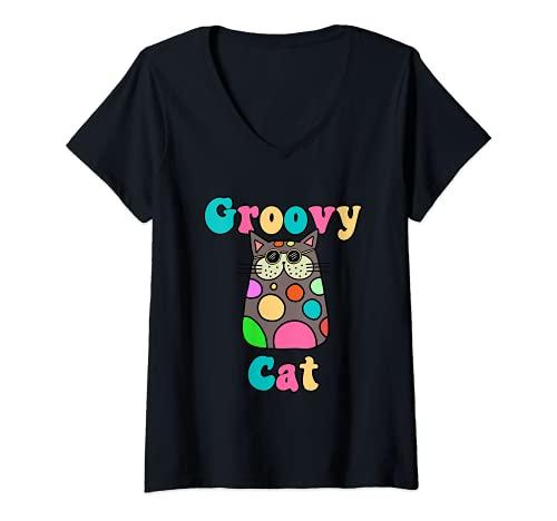 Mujer Groovy Cat en gafas de sol estilo retro de los años 70 con Camiseta Cuello V