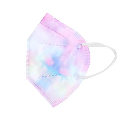 Koippimel Tie-Dye Disposable Face_Masks for Kids, 5-Layers Non-Woven_Mask, 10pcs, 0223-84
