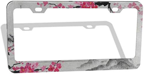 Japanese Oil Painting Cherry Blossom Sakura Flower Plate Frame 2pcs Newest Matte Aluminum Alloy License Plate Frame, Applicable to US Standard Car License Frame 2 Holes 12' x 6'