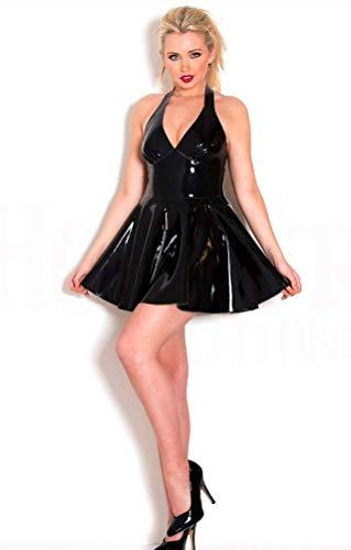 WNRLL Mujeres Sexy Catsuit Mini Vestido de Charol Ropa de Baile Falda de látex de PVC Locomotora Ropa de Baile Caliente Monos Mojado Look Clubwea,Negro,L
