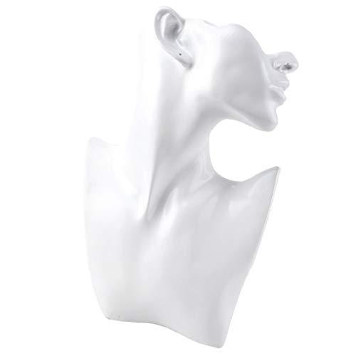 SM SunniMix Weibliche Mannequin Büste Halsketten Anhänger Modeschmuck Display Schaufensterpuppen Schmuck Organisation oder Juwelier-Display - L + Weiß Harz