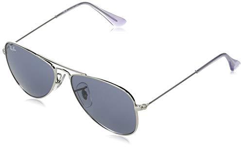 Ray-Ban Junior Kids' RJ9506S Metal Aviator Sunglasses, Silver/Blue, 50 mm