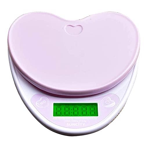 QZH Básculas de Cocina Digitales multifunción, Pantalla LCD Almacenamiento Compacto 5 kg / 0,1 g Básculas de Cocina Digitales en Forma de corazón Básculas electrónicas de Alimentos Dieta de