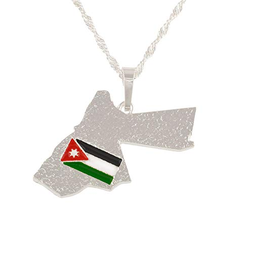 NCDFH Silver Color Jordan Map & Flag Pendant Necklace for Women Jewelry Ethnic Gifts #J0011-45cm
