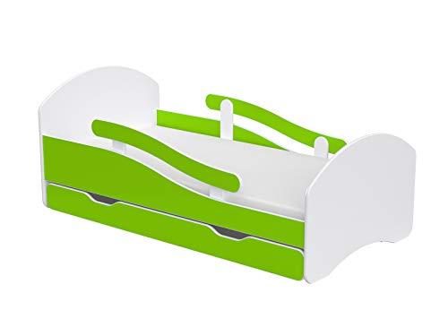 Children's Beds Home Cama Individual Oscar para niños Niños pequeños Juniors con cajones Pero sin colchón Incluido (Blanco - Lima, 140x70)