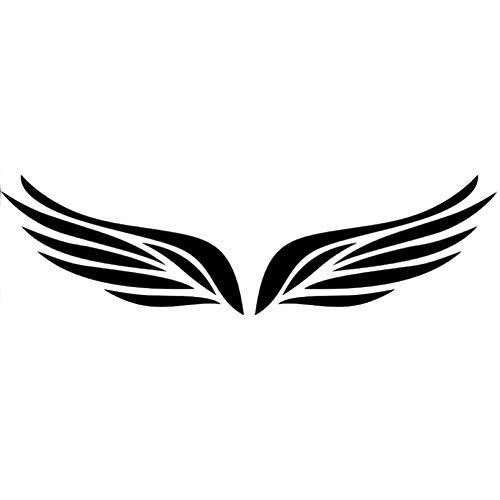 JKGHK Calcomanías de vinilo para coche, diseño de plumas de pájaro, alas de ángel, color negro, plateado, 2 x 10 x 5,8 cm